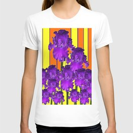 Decorative Contemporary Purple Yellow Iris Orange Garden Art T-shirt