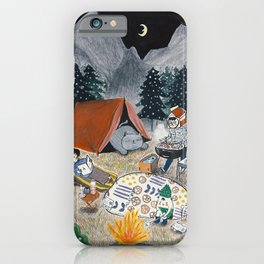 Family Camping in the Forest iPhone Case