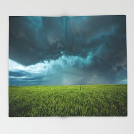 April Showers - Colorful Stormy Sky Over Lush Field in Kansas Throw Blanket