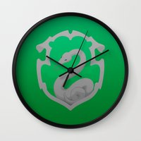 slytherin Wall Clocks featuring Or perhaps in Slytherin by Tom Oxnam