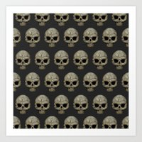 polkadot Art Prints featuring Odd Skull Polkadot by Luke Clark