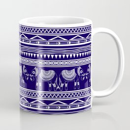 White and Navy Blue Elephant Pattern Coffee Mug