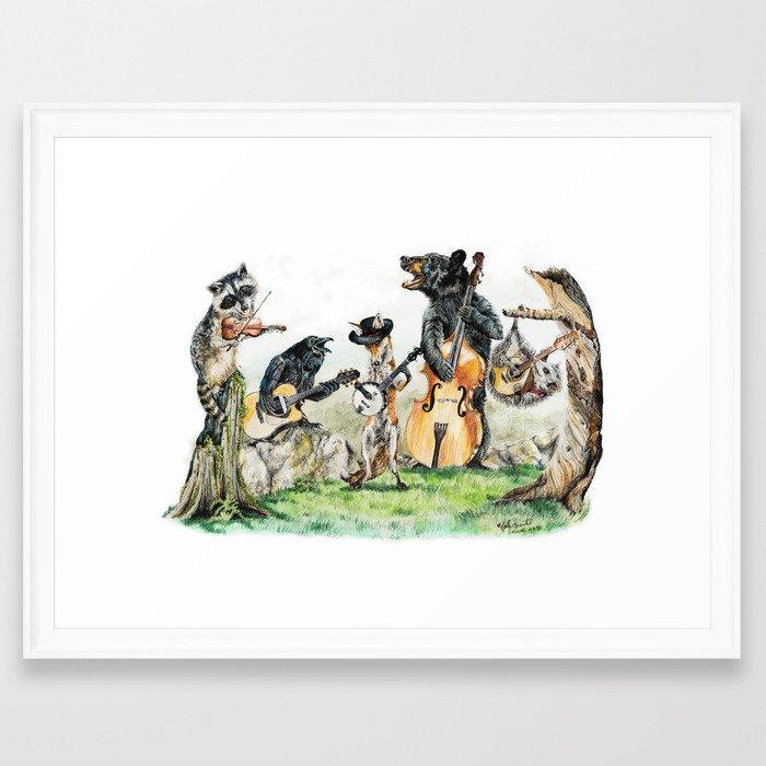 """"""" Bluegrass Gang """" wild animal music band Framed Art Print"""