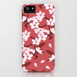 Sakura on red background iPhone Case