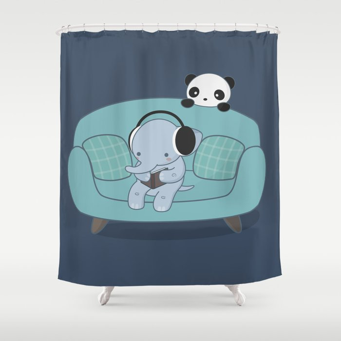 Kawaii Elephant And Panda Shower Curtain