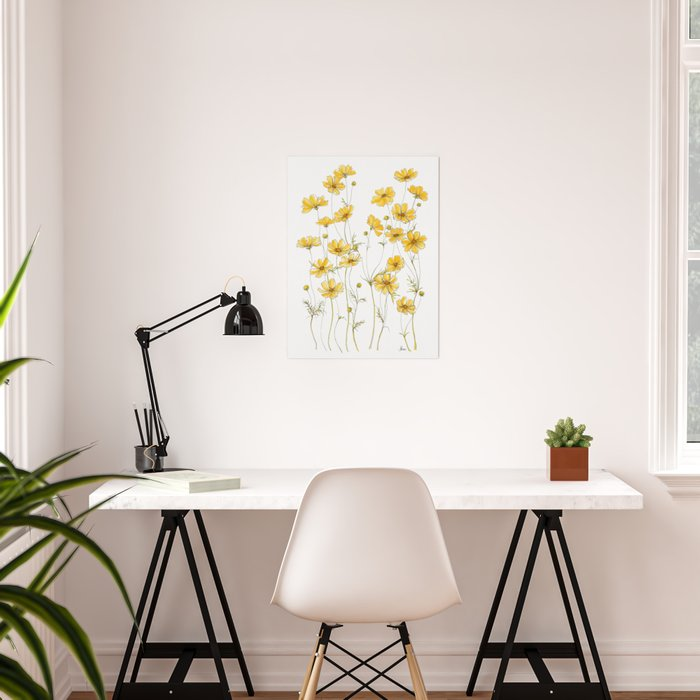 Yellow Cosmos Flowers Poster