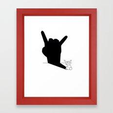 Rabbit Rock and Roll Hand Shadow Framed Art Print