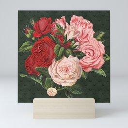Vintage crimson red and pink roses garden on dark royal green Mini Art Print