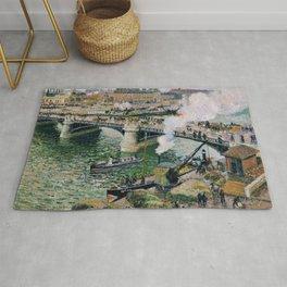 Pont Boieldieu in Rouen, Rainy Weather by Camille Pissarro Rug