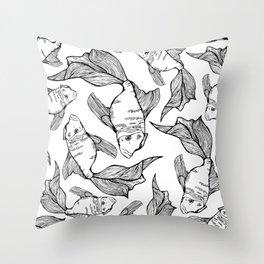 Sea-life Collection - FishTank, Black & White Throw Pillow