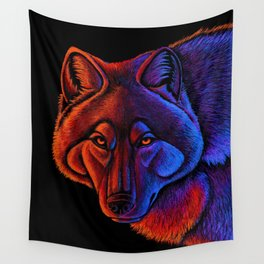 Fire Wolf Colorful Fantasy Animals Wall Tapestry