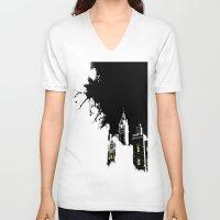 edinburgh V-neck T-shirts featuring Edinburgh by night by Slug Draws