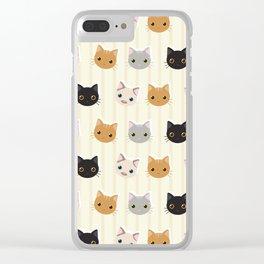 Cute Kitten & Stripes Pattern Clear iPhone Case
