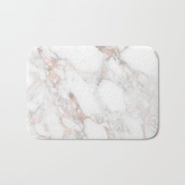 Rose Gold Marble Blush Pink Metallic Foil Bath Mat