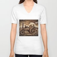 jem V-neck T-shirts featuring Jem General Purpose Engine in sepia by Avril Harris