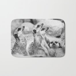 Black and White Meerkats Bath Mat