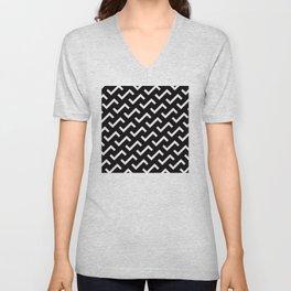 Geometric Pattern #36 (black white S shape pattern) Unisex V-Neck