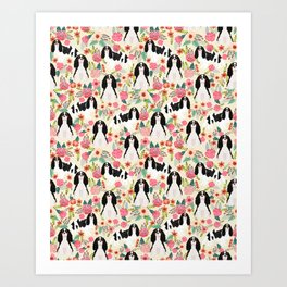 Cavalier King Charles Spaniel floral flowers dog breed pattern dogs Art Print
