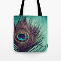 peacock feather Tote Bags featuring Peacock Feather by KunstFabrik_StaticMovement Manu Jobst