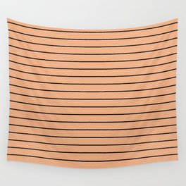 Thin Black Lines On Peach Wall Tapestry