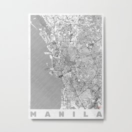 Manila Map Line Metal Print