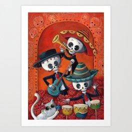 Dia de Muertos Musical Skeleton Band Art Print