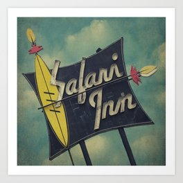 Safari Inn, Burbank, CA.  Art Print