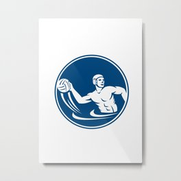 Water Polo Player Throw Ball Circle Icon Metal Print
