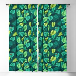 Leaf pattern with red frogs Blackout Curtain