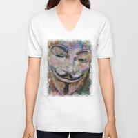 grafitti V-neck T-shirts featuring Anonymous by Michael Creese