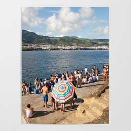 People waiting at the islet Poster