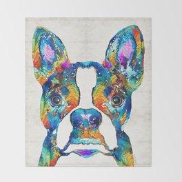 Colorful Boston Terrier Dog Pop Art - Sharon Cummings Throw Blanket