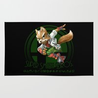 super smash bros Area & Throw Rugs featuring Fox - Super Smash Bros. by Donkey Inferno