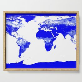 World map Blue & White Serving Tray