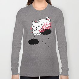 Burning cat is floating in the sky (sweating so much) Long Sleeve T-shirt