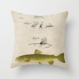 Vintage Brown Trout Fly Fishing Lure Patent Game Fish Identification Chart Throw Pillow
