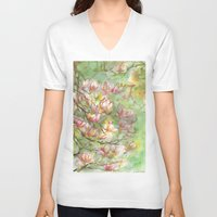 magnolia V-neck T-shirts featuring magnolia by Anja Voigt