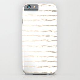 Simply Wavy Lines in White Gold Sands on White iPhone Case