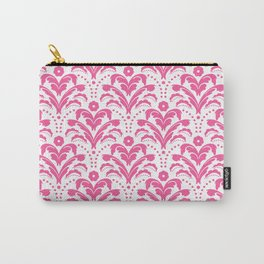 Pink Art Deco Floral Damask Carry-All Pouch