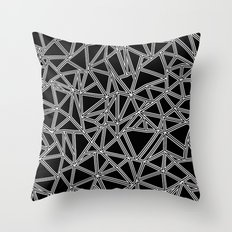 Abstract New White on Black Throw Pillow