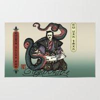 poe Area & Throw Rugs featuring Samurai Poe by QStar