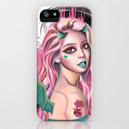 Pastel Devil - Stylized digital portrait iPhone Case