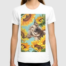 Highland Cow with Sunflowers in Blue T-shirt