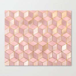PINK CHAMPAGNE GRADIENT CUBE PATTERN (Gold Lined) Canvas Print