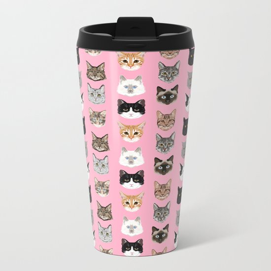 Cute Cat breed faces smiling kitten must have gifts for cat lady cat man cat lover unique pets Metal Travel Mug