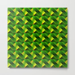 Pyramids of bright green squares and triangles in yellow. Metal Print