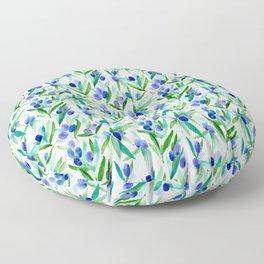 Olive Greek Mediterranean Watercolor Pattern Floor Pillow