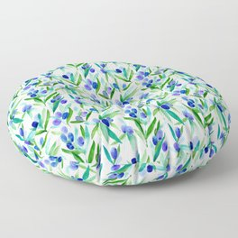Olive Greek Mediterranean Watercolor Pattern Floor Pillow