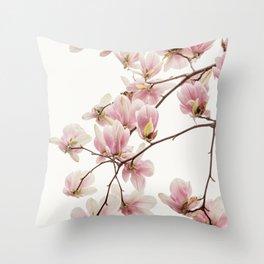 Cascading Pink Magnolia Throw Pillow