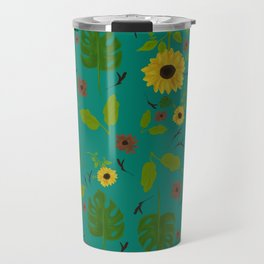 Sunflower & Monstera Leaf Travel Mug